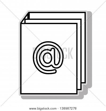 at symbol , isolated black and white flat icon design