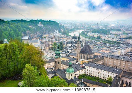 View of Salzburg from Hohensalzburg fortress  - Austria