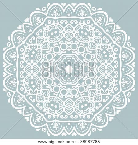 Oriental pattern with arabesques and floral elements. Traditional classic blue and white ornament