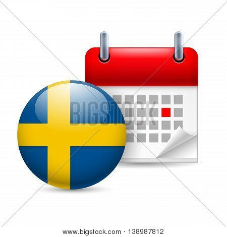 Calendar and round Swedish flag icon. National holiday in Sweden