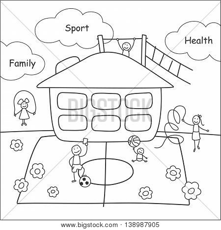 Family stories: sport and health. Linear black and white.