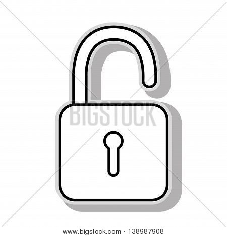 Security padlock isolated flat icon, vector illustration graphic design.