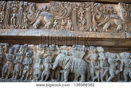 The Mystic Animal And War Scenes Carved In Hoysaleshwara Temple At Halebidu