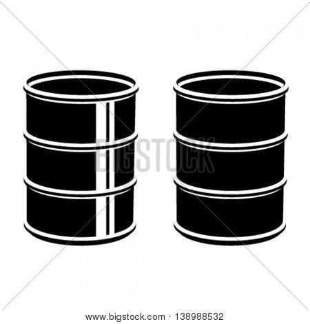 3D metal barrel black symbol vector
