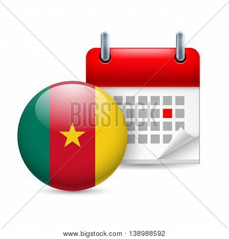 Calendar and round Cameroonian flag icon. National holiday in Cameroon