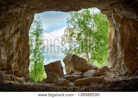 Entrance to an abandoned karst cave closeup