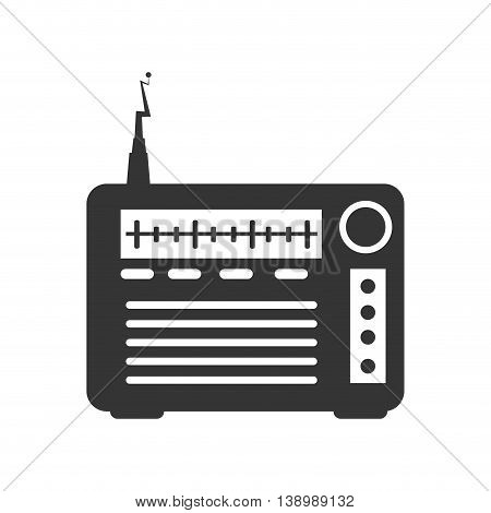 Radio transmitter device , isolated black and white flat icon design