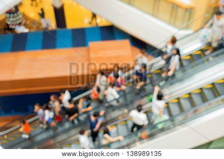 An escalator in department store blur scene.