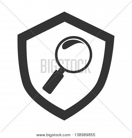 Magnifying glass , isolated black and white flat icon design