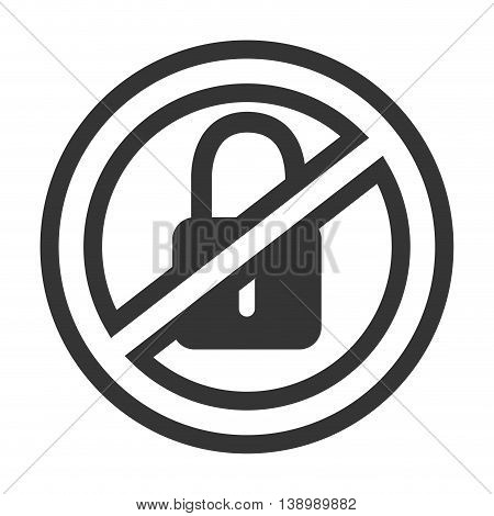 Security sign padlock isolated flat icon, vector illustration graphic design.