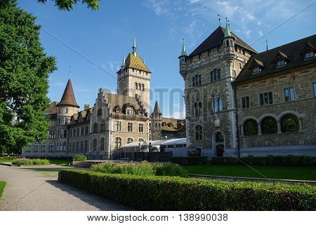 Cityscape with view of Swiss National museum (Landesmuseum) in Zurich Switzerland