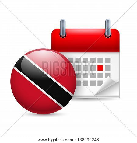 Calendar and round flag icon. National holiday in Trinidad and Tobago