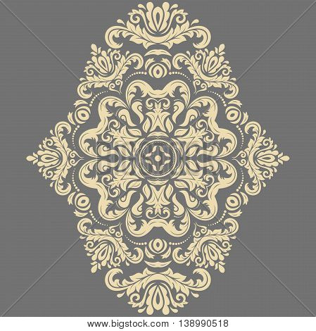 Oriental pattern with arabesques and floral golden elements. Traditional classic ornament