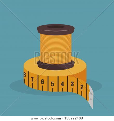 sewing thread with tape measure  isolated icon design, vector illustration  graphic