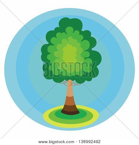 Tree icon concept in the blue circle environmental conservation