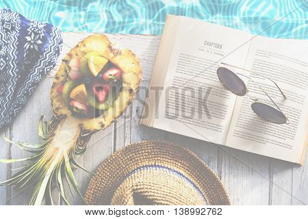 Pool Book Chill Explore Fresh Relaxation Towel Concept