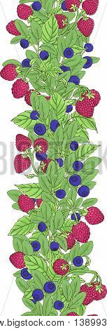 Seamless colored border of twigs blueberry and raspberry with berries and leaves on a white background. Berries are painted by hand and dark lines are painted bright colors. Vector illustration
