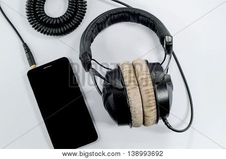 funky headphone music smartphone on White background