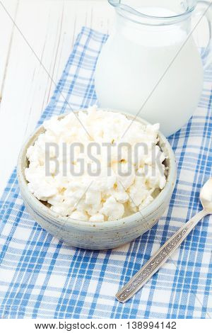 Cottage cheese and milk on checked blue tablecloth