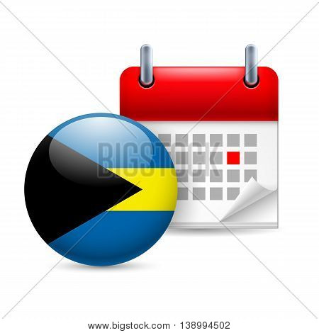 Calendar and round Bahamian flag icon. National holiday in the Bahamas
