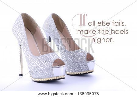 High Heel Rhinestone Shoes With Funny Saying