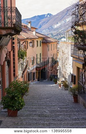 picturesque old alley in Bellagio. Bellagio is situated upon the cape of the land in Lake Como in Italy.