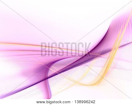 Abstract background element. Fractal graphics series. Three-dimensional composition of glowing lines and halftone effects. Information and energy concept.Violet, yellow and white colors.