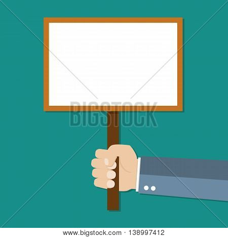 Cartoon businessman hand holding empty sign plate with space for text. vector illustration in flat design on green background