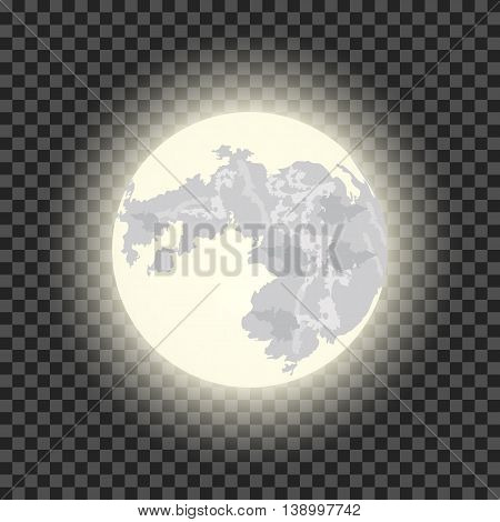 Full moon on the dark transparent background. vector illustration