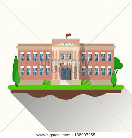 modern school building, the main entrance and front yard. Vector illustration in flat style