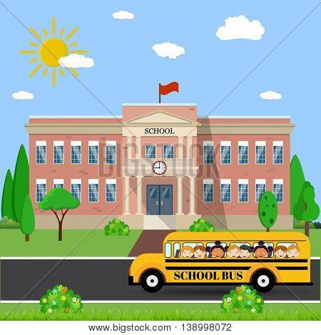 Welcome back to school. School building, bus and front yard with students children. Vector illustration in flat style