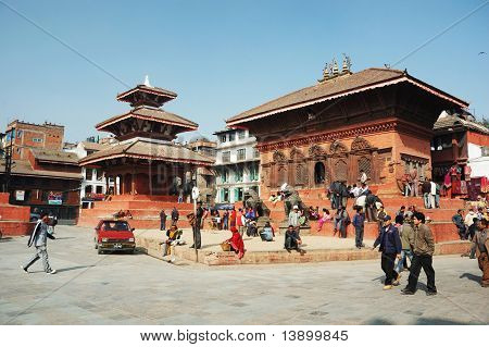 Kathmandu,nepal - December 15: Old Durbar Square With Pagodas December 15, 2008 In Kathmandu, Nepal.