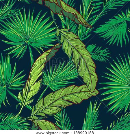 Banana and fan palm tree leavs on a dark blue background. Tropical jungle. Seamless pattern with Irregular distribution of elements. EPS10 vector illustration.