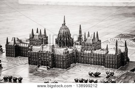 Hungarian parliament building in Budapest Hungary - miniature artistic model. House of the nation. Black and white photo. Travel destination. Architectural theme.