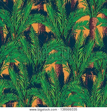 Phoenix palm trees on an orange background. Tropical jungle. Seamless pattern with Irregular distribution of elements. EPS10 vector illustration.