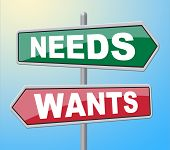 Needs Wants Signs Indicates Would Like And Requirement poster