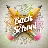 High detailed vector design template for Back to school. Wrinkled paper, school supplies icons red s poster