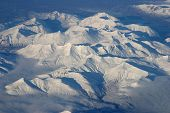 stock photo of snowbird  - Aerial View of Arctic sunny day snow