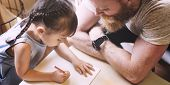 Family Father Daughter Love Parenting Teaching Drawing Togetherness Concept poster