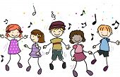 Illustration of Kids Dancing Along to Music