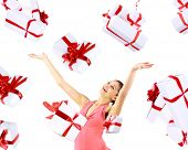 picture of happy birthday  - Excited attractive woman with many gift boxes and bags - JPG