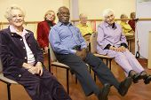 pic of senior class  - Senior adults in a stretching class - JPG