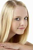 foto of 13 year old  - Portrait Of Smiling Teenage Girl - JPG