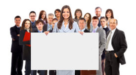 stock photo of sign-boards  - group of business people holding a banner ad isolated on white - JPG