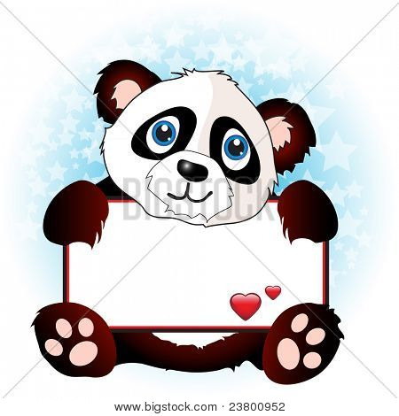 A cute cartoon panda holding a banner with hearts on subtle star background. Space for your text. Also available in vector format