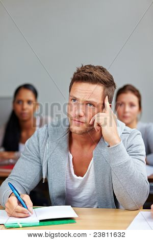 Pensive Student In University Class
