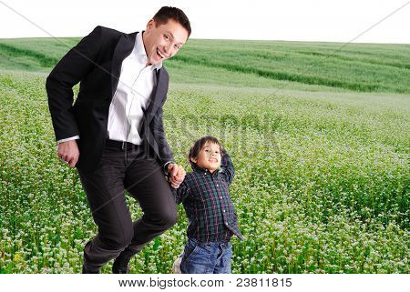 Father and son in nature, happy time