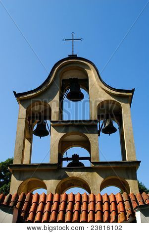 Bell tower at the Church of St. Joseph in Sandomierz, Poland.