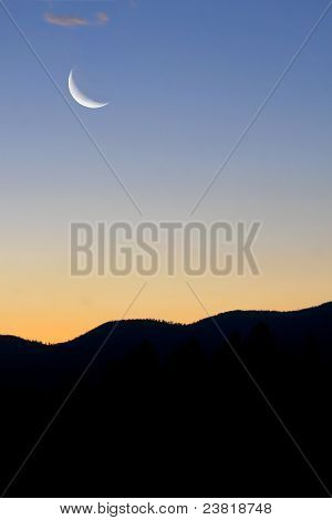 Cresent Moon Over the Mountains