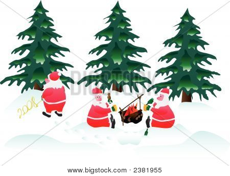 Three Santa